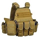 Gonex Gilet Tactique Militaire Gilet de Combat Veste Extérieure pour Airsoft Jeu CS...