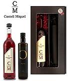 Weingeschenk Castell Miquel Geschenkset Rosewein Rosado Stairway To Heaven und Olivenöl 250ml in 2er Präsentbox Elegance