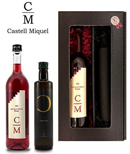 Weingeschenk-Castell-Miquel-Geschenkset-Rosewein-Rosado-Stairway-To-Heaven-und-Olivenl-250ml-in-2er-Prsentbox-Elegance