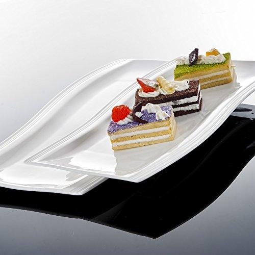 Malacasa Flora 4pcs Assiette Plate à Hors-d'oeuvre Plat de Présentation Rectangulaire Porcelaine, Assiettes à Dessert, Plat de Service Table, 33,5*22,5*2,5&28*19,5*2,5cm, Blanc