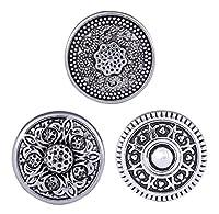 Morella® Damen Click-Button Set 3 Stück Druckknöpfe Blumenmuster Silber