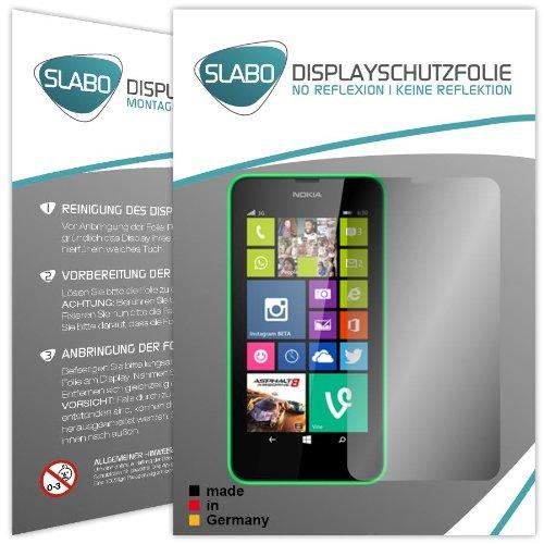 Slabo 2 x Bildschirmschutzfolie Nokia Lumia 630/635 Bildschirmschutz Schutzfolie Folie No Reflexion Keine Reflektion MATT - Entspiegelnd MADE IN GERMANY