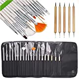 Lola Nail Art Brushes, Dotting Pens Marbling Detailing Painting Striping Tools 20pc Kit Set with Roll-up Pouch - Best for Nail Art and Facial Detailed