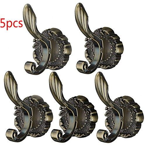 Delmkin 5pcs Wandhaken Vintage-Kleiderhaken Garderoben Haken Huthaken (Bronze) (Bronze Kleiderhaken)