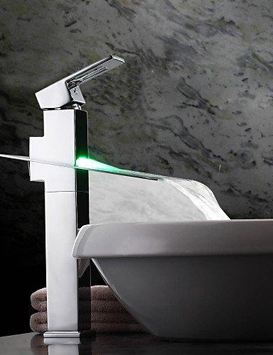 Furesnts casa moderna per bagno e cucina con luce LED cambia colore Rubinetto a cascata per lavabo con canna alta)