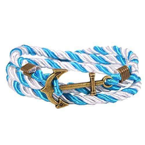 Vintage nautischen Anker Armband Charm Multiplayer Seil Twining Weave Nylon Seil - White Aqua (Vintage Nylon White)