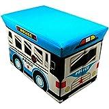 Baúl para juguetes con asiento diferentes motivos 49 x 31 x 31 cm mws2145 (Bus policia (Azul))