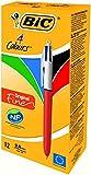BIC 4-Farb-Druckkugelschreiber Fine / 4 in 1 Kugelschreiber / Rot, Blau, Schwarz und Grün / Dokumentenecht / Nachfüllbar / Strichstärke 0,35mm / Stifte Set mit 12 Mehrfarbenstiften