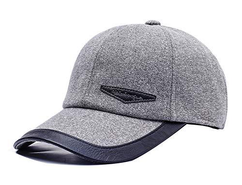 FENGFA Baseballcap mit Ohrenklappen Herren Basecap Mütze Winterkappe Schirmmütze (Hell grau)