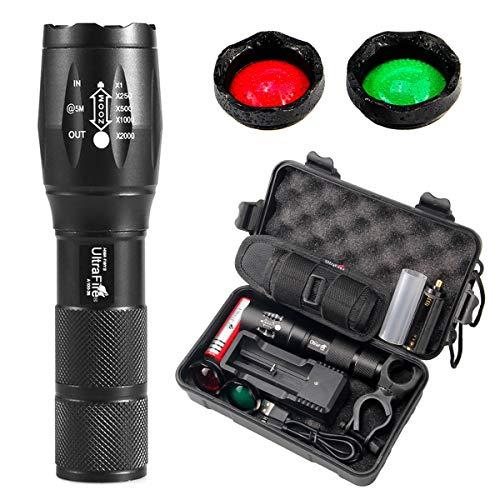 UltraFire WF502B Lampe Torche Set 900 Lumens 5 Modes, Étui Lampe de Poche, Batterie et Chargeur, Support de Torche Vélo,Verre d'échange Rouge/Vert/Blanc Boîte à Outils