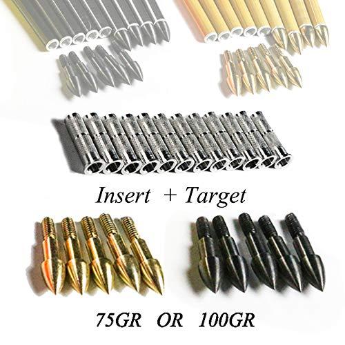 WQ-HUNTING, 12PCS Arrow Target Point und 12PCS Insert für ID6.2 Arrow Shaft Archery Hunting