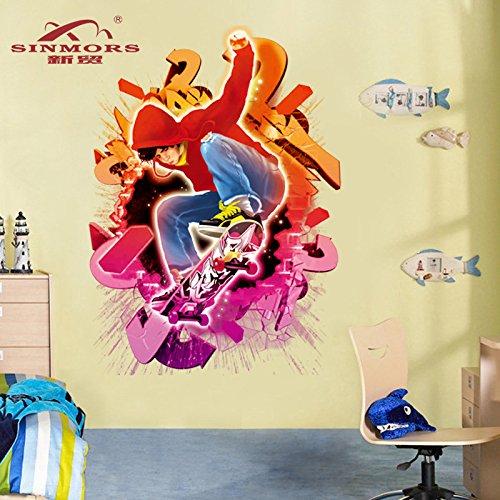 Preisvergleich Produktbild 3D Wand Aufkleber Mode Schlafzimmer / Wohnzimmer TV Hintergrund Wand Dekoration Skateboard Wand Aufkleber grün PVC 70X50cm