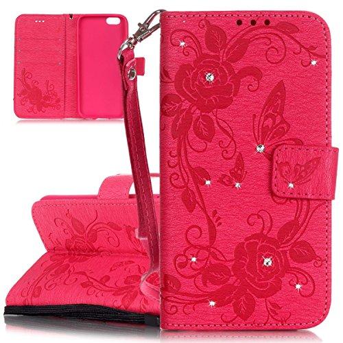 Hülle für iPhone 6 6S, Tasche für iPhone 6 6S, Case Cover für iPhone 6 6S, ISAKEN Blume Schmetterling Muster Folio PU Leder Flip Cover Brieftasche Geldbörse Wallet Case Ledertasche Handyhülle Tasche C Schmetterling Rose Rosa