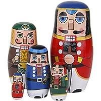 Sharplace 5-Teilig Russische Holzpuppen Nussknacker Soldat Dekofigur Matrjoschka Matröschka Babuschka Spielzeug