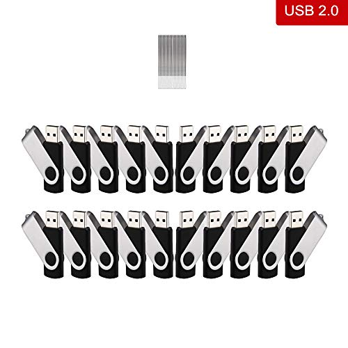 20 Stück 16GB USB-Stick, kacai USB 2,0 Speicherstick mit Keychain Ring Flash Drive Memory Sticks für Laptop, Schwarz