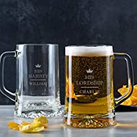 'His Lordship' Personalised Pint Glass For Men/Personalised Tankard/His Lordship Glass Mug/Personalised 30th 21st Birthday Gifts For Men/Personalised Beer Gifts/Valentines gifts for him