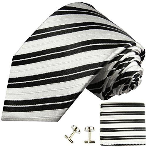 Cravate homme noire blanc rayé ensemble de cravate 3 Pièces ( longueur 165cm )