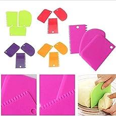 Pindia DC1702029 Plastic Cake Scraper (Multicolour, Set of 3)