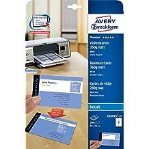 AVERY Zweckform C32015-25 Premium Visitenkarten (200 Stück, 85 x 54 mm, beidseitig bedruckbar, 260 g, matt, 25 Blatt)