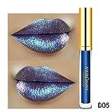 gaddrt Lippenstift 10 Farbe Womens Magie Glitzer Flip Flip ziehen Matt Perle Lipgloss Clu (E)