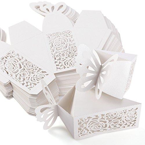 25-50Hohl Rose Design Papier Karte Carry Boxen Geschenk oder Hochzeit für Boxen, No Ribbons (Hochzeit Geschenk-boxen Für Karten)