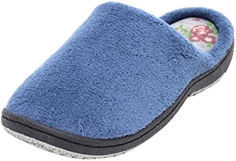 Damen Wellness Hausschuhe Pantolette Slipper Schuhe aus Mikro Textil mit Spezial Schaumfußbett und fester Sohleö