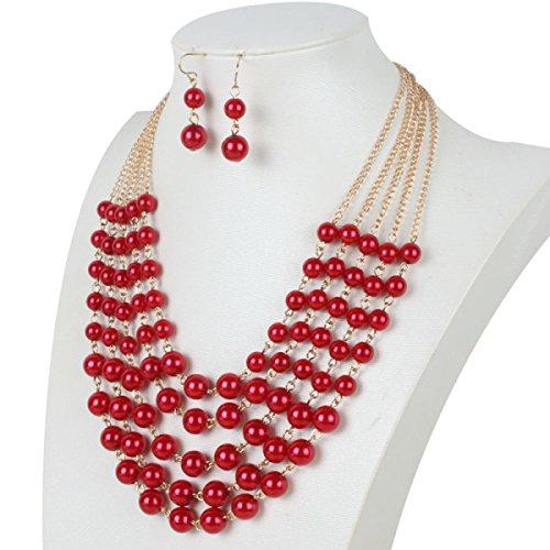 Femme Perle Collier Mode Perles Multi-couche Exagérée Réglable Réglé red