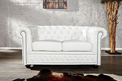 DuNord Design Sofa Couch CHESTERFIELD 2er weiss Design Polstermöbel England