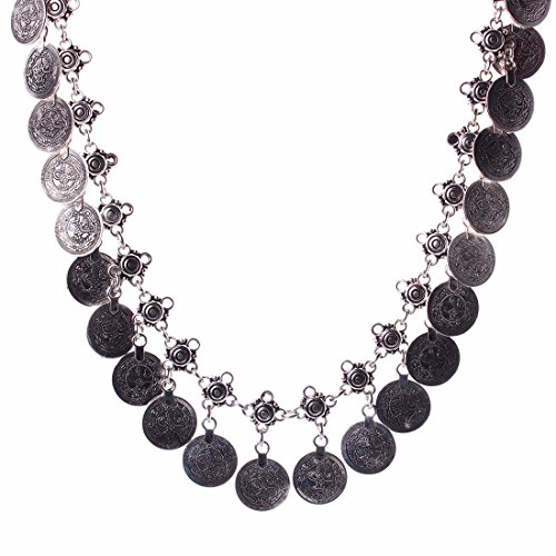 Women Ancient Silver Coin Pendant Tribal Boho Choker Alloy Chain Necklace