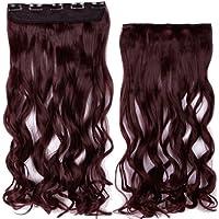 """syalex (TM) lungo clip in Hair Extension mezzo pieno Testa 100% Vera capelli naturali estensioni 17""""ricci wine red"""