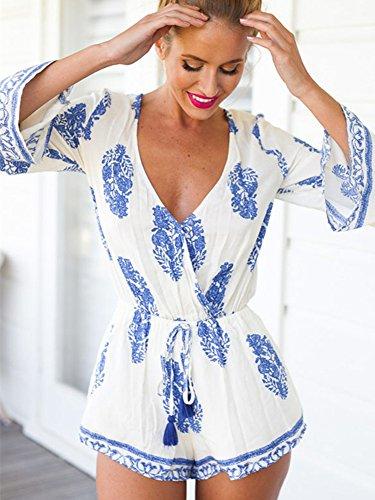 Miss Floral - Combinaison - Blouson - Imprimé Cachemire - Manches Longues - Femme Blanc Blanc 34 Paisley