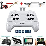 Mobiler Game-Controller Radiator 5 in 1 Sensitive Shoot and Aim Keys and Mobile Game Cooler Controller, Dual Cool Fan USB Desktop Stand Lazy Bracket for iOS or Andorid weiß weiß