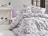 Premium 2-3 tlg Renforce Bettwäsche Bettgarnitur mit Reißverschluss in verschiedenen Größen (Weiß Pink, 135 x 200 cm)