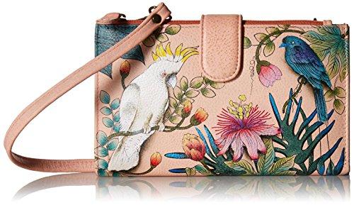 ANUSCHKA Damen Echtleder Handy Tasche Brieftasche - handbemalt Original Artwork, Cockatoo Sunrise, One size