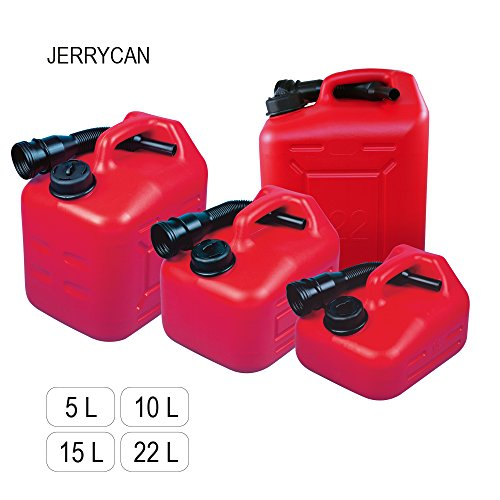 "Very handy fuel tank ""JERRYCAN"" with a spout l with the volume 5, 10, 15 or 22 l, made of HDPE Polyethylene Test"
