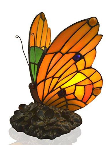 Schmetterling Tiffany Akzent Lampe,Mehrfarbig,16x17x22cm,Europäischer Konversionsstecker Packung mit 1