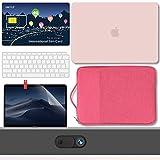 GMYLE Hülle MacBook Air 13 Zoll Gehäuse A1932 2018 Touch ID 200 MB PrePaid International SIM Karte, Hartschale, Tragetasche, Schutzfolie für Webcam-Abdeckung, Tastaturhaut 6-1 Reisegepäck - Rosa