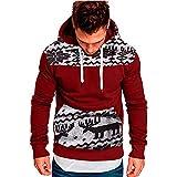 KUDICO Herren Kapuzenpullover Weihnachtlicher Herbst Winter Casual Sweatshirt Hooded Top Bluse Tracksuits mit Front Känguru Tasche, Angebote! (rot, L)