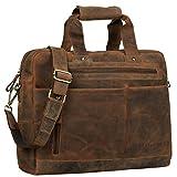 STILORD 'Patrice' Große Leder Umhängetasche Herren Vintage Schultertasche für DIN A4 Ordner Businesstasche mit 15.6 Zoll Laptopfach Trolley aufsteckbar, Farbe:mittel - braun