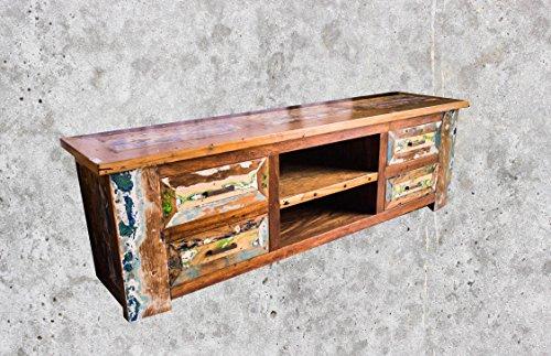 (TV3) Teakholz TV Kommode Kabinett Sideboard Schrank Shabby Vintage Retro Flur Chic - 2