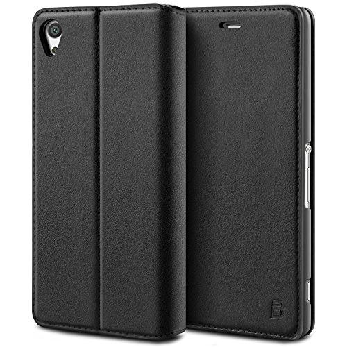 BEZ Cover Xperia Z3, Custodia Compatibile per Sony Xperia Z3, Protettiva Portafoglio Flip Case in Libro Pelle Con Porta Carta di Credito, Kick Stand, Chiusura Magnetic - Nero