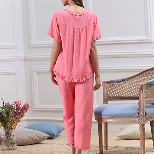 Zhhlinyuan Lovely Short Sleeve Pyjama Set Womens Summer Breathable Sleepwear M5617 pink