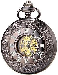 SEWOR Negro Esqueleto Reloj De Bolsillo Funda luminoso automático mecánico auto Wind