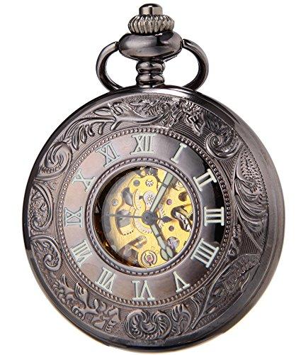 SEWOR Classic Skeleton Movement Automatic Mechanical Self Wind Pocket Watch (Black)