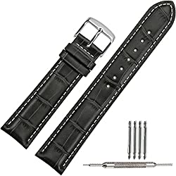 TStrap Genuine Leather Watch Strap 18mm Brown Black Watch Band with Stainless Steel Watch Clasp Buckle