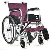 ZDY Zusammenklappbarer Tragbarer Manueller Rollstuhl, Rollstuhl mit Leichtem Eigenantrieb, Aluminium-Rollstuhl, Manueller Rollstuhl, Senioren, Patient, lila, a