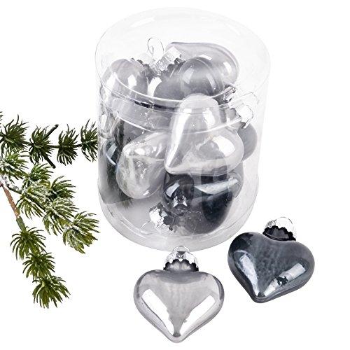 Dadeldo Living & Lifestyle Weihnachtskugel Herz Premium 10er Set Glas 5x4x2cm Xmas Baumschmuck (Grau)