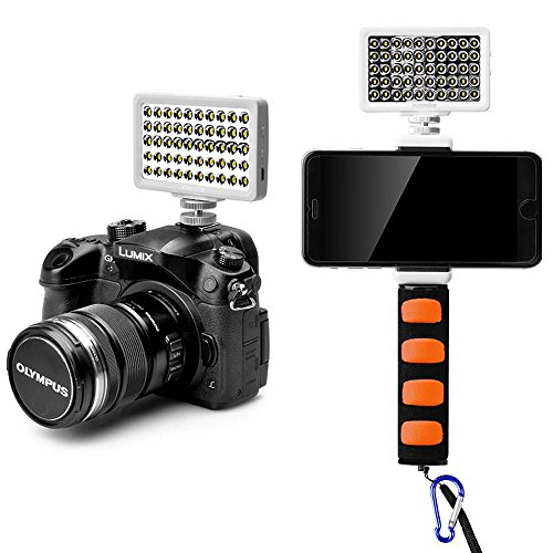 Commlite CM-L50BII Dimmable 50 LED Ultra High Power Panel Kamera LED Video Licht,Universal Mini Kamera Licht für Smartphone,Canon,Nikon,Panasonic,SONY,Samsung Digitalkameras(Weiß)(mit Orange Griff)