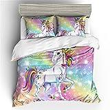 DXSX Einhorn Bettwäsche Set Cartoon Tier Muster Bettbezug mit Kissenbezügen Modern Fashion Rainbow Unicorn Horse Kinder Jungen Mädchen Bettwäsche Set (Rosa, 135 x 200 cm)
