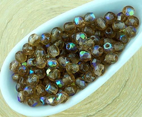 100er Geraucht Kristall Topaz Ab der Hälfte der Runde Facettierte, Feuer-Poliert Kleine Tschechische Glas Spacer Perlen 3mm -